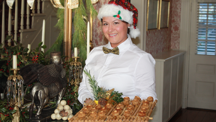 Serving staff at a holiday party